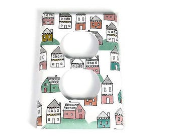 Single Outlet Switch Plate Light Switch Cover in Tiny Town (287O)