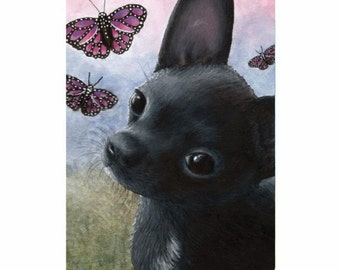 Fridge Magnet Print ACEO from my original painting Dog 91 black Chihuahua by Lucie Dumas