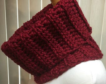 Cowl, Red, Cranberry, Turtleneck, Crochet Scarf, Chunky, Neck Warmer, OOAK, Handmade, Winter, Gift for Him, Gift for Her