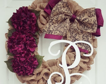 Fall Burlap Wreath - Burlap Wreath - Front Door Wreath - Fall Wreath - Burlap Wreath with Initial - Burlap Wreath Fall - Monogram Wreath