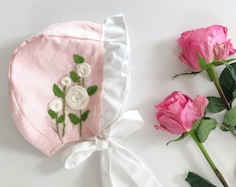 Pink Rose-Embroidered  brimmed baby bonnet , cotton bonnet, reversible bonnet. baby bonnet.