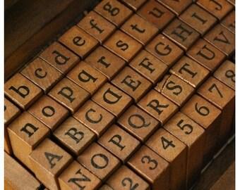Antique Alphabet Stamp Set - Wooden Rubber Stamp Set - Alphabet, Number & Symbol - 70 pieces - WR001