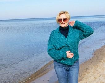 Open cardigan, SLOUCHY warm sweater,Classic form, cardigan,  boho style, very soft wool, oversize,S-L, deep emerald, 100% wool