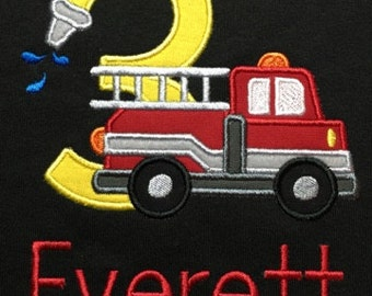 Personalized Fire Truck Birthday Shirt! 1-9 available! Machine embroidered and appliqued!!
