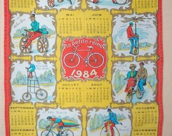 Vintage 1984 calendar tea TOWEL bikes