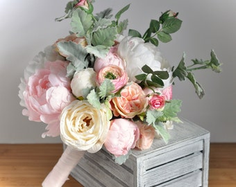 Blush Pink Peony Bouquet, Blush Boho Bouquet, Cream Peony Bouquet, Blush Peony Bouquet, Cream Peony Wedding, Ranunculus Bouquet