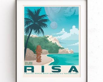 Risa Planet. Star Trek art. Retro travel poster. Spock illustration. Kirk Starfleet. Enterprise minimalist. Leonard Nimoy. Gift for geeks