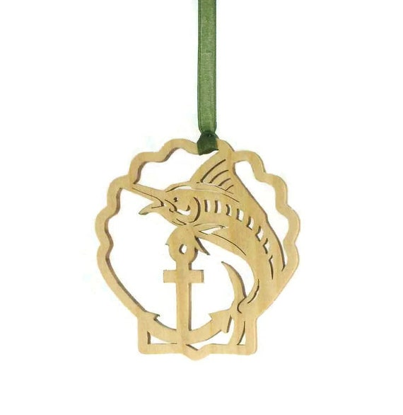 Marlin Fish Fishing Christmas Ornament Handmade From Birch Wood Handcrafted Using A Scroll Saw