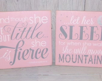 And Though She Be But Little She Is Fierce, Let Her Sleep For When She Wakes She Will Move Mountains, Pink and Grey Nursery, Nursery Art