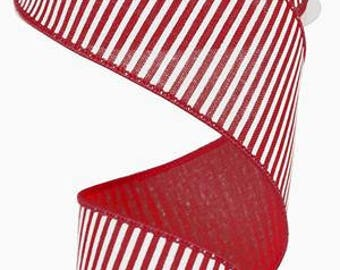 2.5 Inch Red White Horizontal Stripes Royal RG178124, Deco Mesh Supplies
