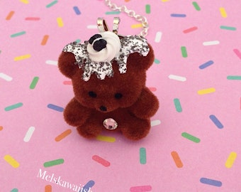Chocolate Creme Cookie Bear Necklace