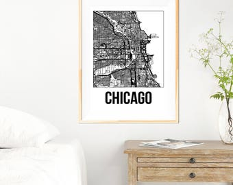Chicago City Map Print - Black and White Minimalist City Map - Chicago Map - Chicago Print - Many Sizes/Colours Available