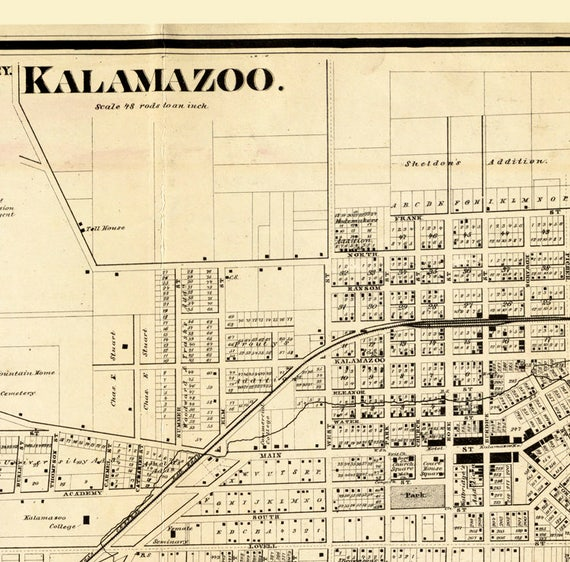 Old Map of Kalamazoo Michigan 1861 Antique map of Kalamazoo