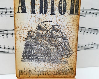 Albion art card The Libertines inspired ACEO mini art pirate ship galleon hand inked and stamped
