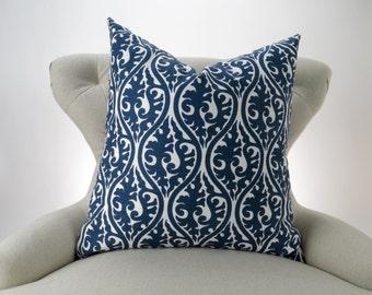 Navy Throw Pillow, Euro Sham, Accent Pillow, Decorative Cushion, Navy Blue & White Decor -MANY SIZES- Kimono Pattern by Premier Prints