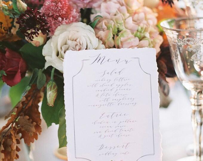Blush Pink, Marsala Burgundy, Purple & Grey Calligraphy Monogram Formal Modern Printed Floral Flowers Wedding Menu