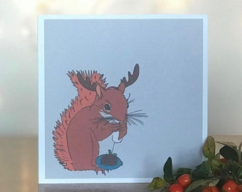 Festive Squirrel Christmas Cards and Envelopes (Pack of 4)