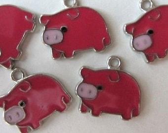 5 piece Set of PINKISH PORKY PIG Charm Pendants