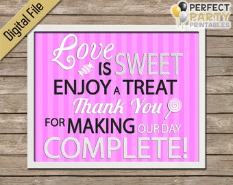 Candy Bar Sign - Love Is Sweet (Pink Stripes) - Wedding Favor - Cupcake Bar - Dessert Bar - Buffet - Printable - Instant Download - 8x10
