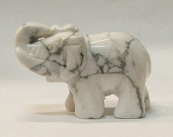 Lucky Elephant in Howlite Stone