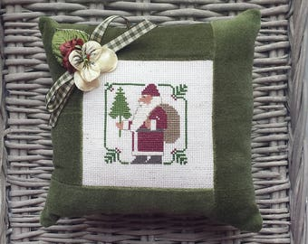 Santa Belsnickle Pillow Vintage Style Handmade Green Velvet Ticking Cross Stitch St Nick Primitive Rustic Christmas Winter Decor