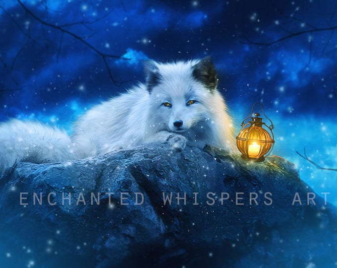 white fantasy winter fox art print
