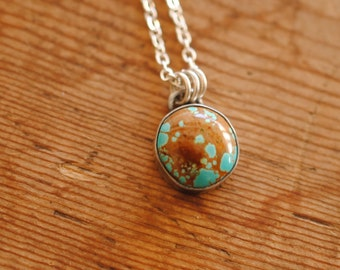 Number 8 Turquoise Pendant | Sterling Silver