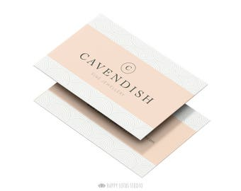 Business Card Design, Modern Minimalist Chic Elegant Branding, Geometric Pink Peach Simple Calling Card, Jeweller Business Card Template