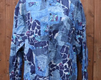 Oversized Long Sleeved Abstract Print Shirt