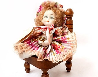 SALE Vintage Capodimonte Porcelain Doll on chair,Italian Porcelain Bisque Doll with Certificate of Authenticity,Collectible Porcelain Doll.