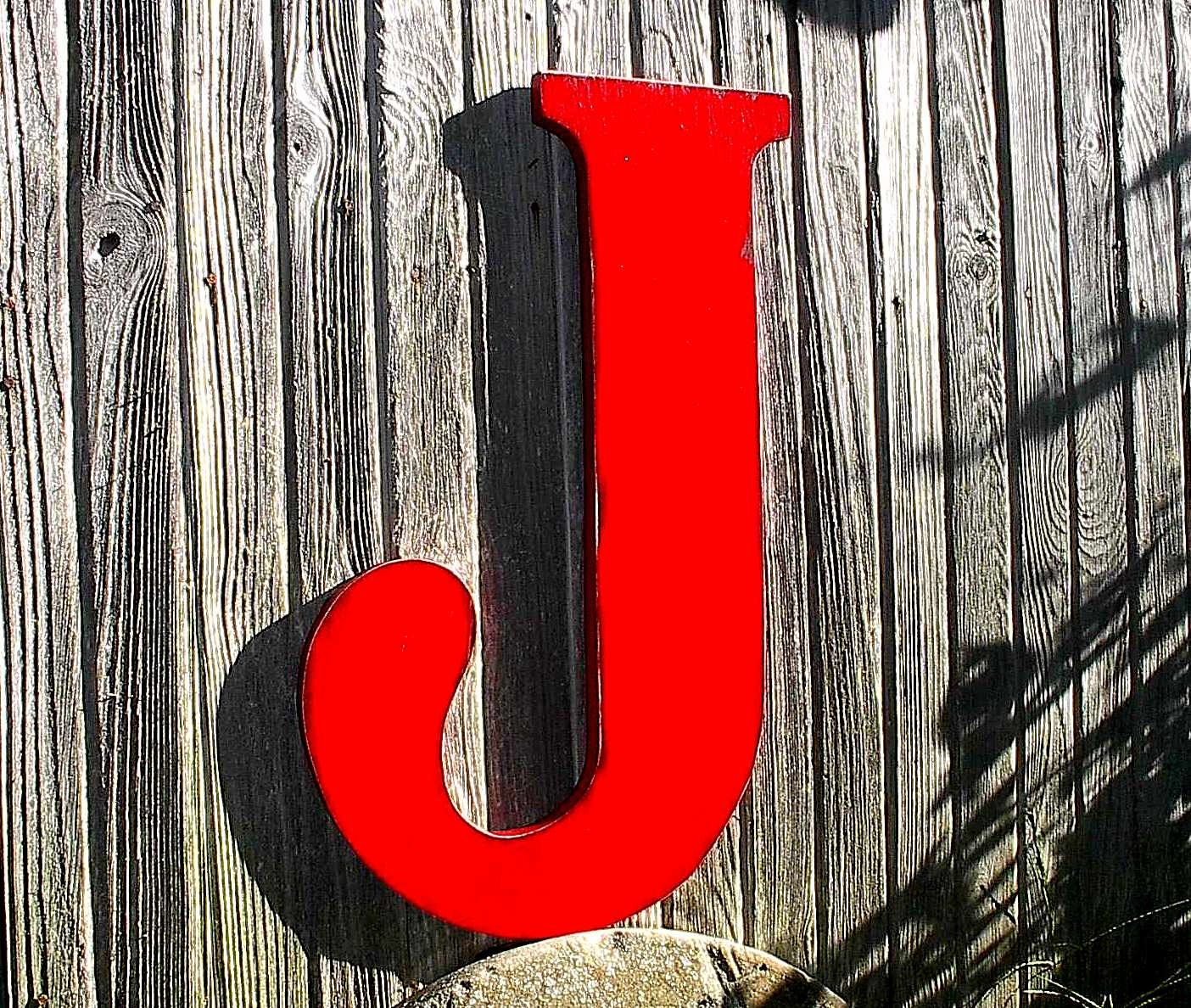 Large Letter J For Wall Mesmerizing Wooden Letters Distressed Red J 24 Large Sign Wall Decor Decorating Inspiration