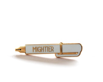 Mightier Pen, Pin, Pins, Graduation Gift, Writer Gift, Gift for Dad, Enamel Pin, Pin Badge, Lapel Pin, Gift for Him, Gift for Her, Pen Pin
