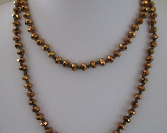 Vintage Gold Crystal Necklace, Faceted Crystal Necklace, Gold Flapper Necklace, Art Deco Style Necklace