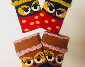 Colorful owl fingerless mittens
