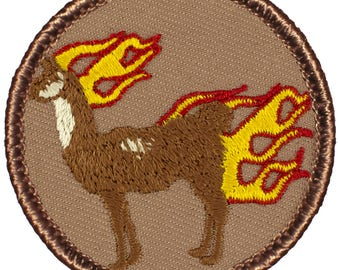 Flaming Llama Patch (175A) 2 Inch Diameter Embroidered Patch