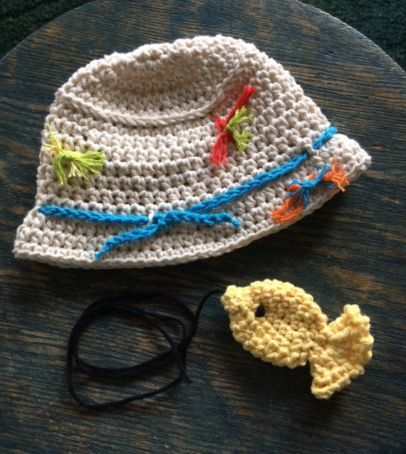Items similar to baby fishing hat with cotton lures 1 for Baby fishing hat