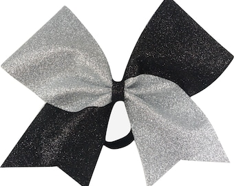 Sideline Tick Tock Silver and Black Glitter Cheer Bow