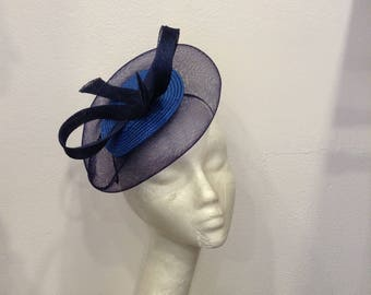 "Navy fascinator blue and royal blue, model ""Equinox"""