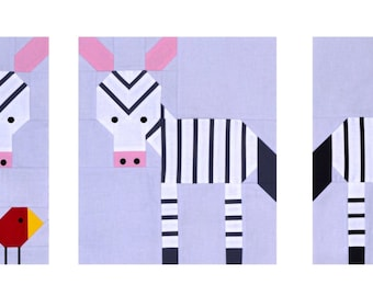 Zebra Quilt Pattern, PDF,  instant download, modern patchwork, Solids, animal, black, grey, white, pink