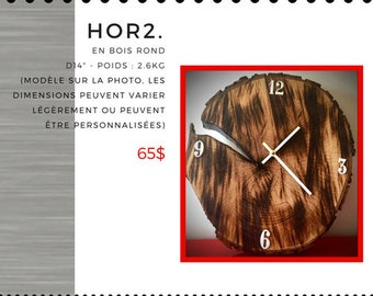 Roasted wooden clock