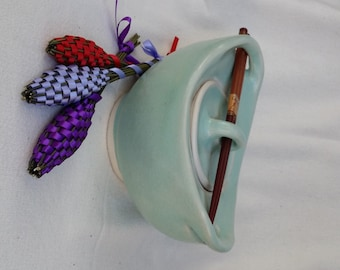 OOAK Lidded Meal Bowl SkyBlue Wheel Thrown With Handles