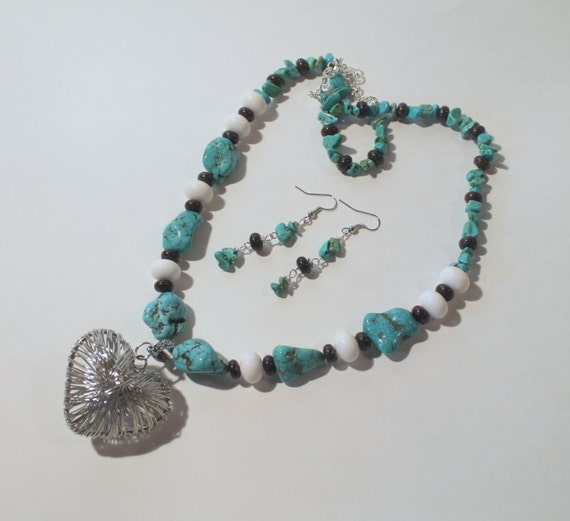 JKCE Designs Turquoise and White With Silver Heart Pendant OOAK Beaded Necklace and Earring Set, Southwestern Style Heart Necklace, Western