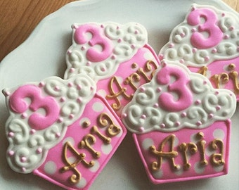 Personalized Cupcake Cookies, Birthday Cookie Party Favors (1 Dozen)