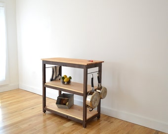 Handcrafted Kitchen Island Made with 100% Reclaimed Wood - Food safe Butchers block cutting board - (Kitchen Cart, Eco)