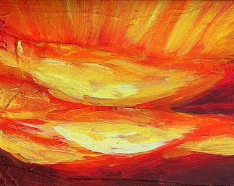 Rays of Sunlight Red Sky III, original acrylic painting on canvas, 7 x 5