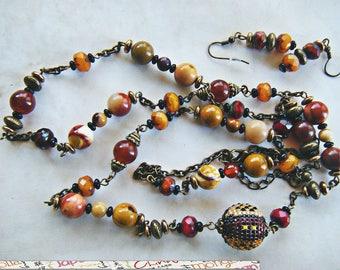 Set, big bronze, Jasper, woven bead, glass beads and earrings