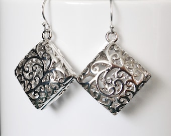 Dangle Earrings, Silver Filigree Drop Earrings, Ornate      Silver Earrings, Everyday Earrings, BFF gift