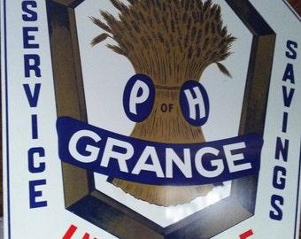 Large vintage metal ph grange sign