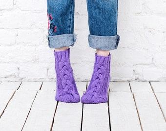 Violet knitted socks Womens wool socks Pantone color socks Ultra violet handmade socks Home slipper socks Bright socks Purple socks womens