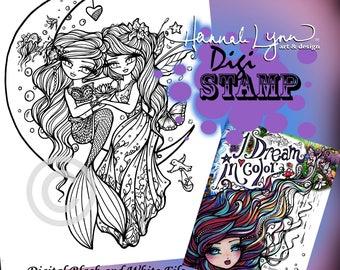 PRINTABLE Digi Stamp Mermaid Fairy Friends Moon Coloring Page I Dream in Color Fun Fantasy Art Hannah Lynn